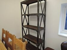 INDUSTRIAL COLLECTION / LARGE RUSTIC STEEL & OAK HARDWOOD SHELVES HEIGHT 202CM