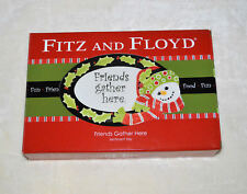 "Fitz & Floyd ""Friends Gather Here� Sentiment Serving Tray Dish Snowman Nib"