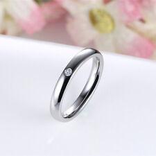Sz 5/6/7/8/9 Titanium Steel Wedding Ring 3MM Men Women's Silver/Gold/Black Band