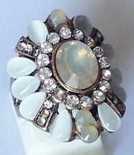 bague style victorien strass poire opaline solitaire couleur diamant  taille 51