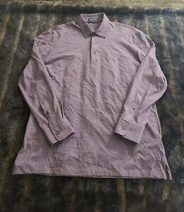 Ermenegildo Zegna Mens Long Sleeve Purple Polo Shirt Size Medium / 50