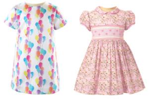 RACHEL RILEY GIRLS DRESS - BALLOON SATIN SHIFT DRESS/DAISY SMOCKED DRESS   -New