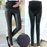 Autumn Winter Warm Pregnant Women Stretch Pants PU Leather Leggings Trousers
