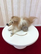Dollhouse Miniature Vintage Hand Made Collie Dog w/Leash by Beverly Couch 1:12