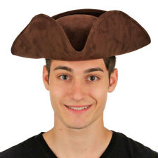 Deluxe Brown Colonial Tricorn Hat Faux Suede Adult Pirate Costume Accessory Prop