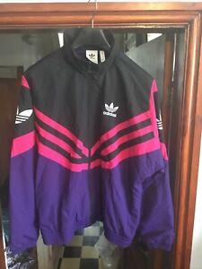 Adidas Black Pink Purple Full Zip Track Jacket Top Size Medium