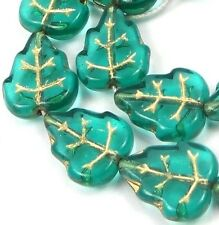 12 Czech Glass Leaves Beads Leaf - Teal - Gold Inlay