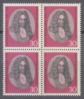 Germany 1966 Mi 518 Sc 962 MNH Leibniz Philosopher & Mathematician Block of 4 **