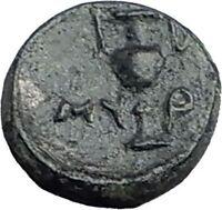 MYRINA in AEOLIS 4-3CenBC ATHENA AMPHORA Authentic Ancient Greek Coin i59782