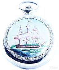 Molnija Russian pocket watch mechanical Handpainted 3602, Motif: Sailboat
