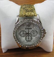 Strada Women's Faux Snake Skin Watch Japanese Quartz Movement Analog w/ Crystals