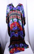 MuuMuu Caftan Full Length Purple Floral Asian Design Multi-Color One Size