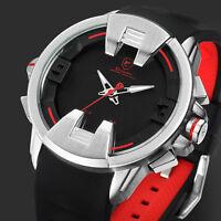 Shark Men's Fashion LED Dual Movement Date Day Quartz Rubber Strap Sport Watch