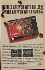 Vintage 1994 Activision MECHWARRIOR Super Nintendo SNES video game print ad