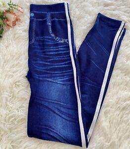 Women's Body Shaping White Striped Blue Denim Jeggings Leggings SMALL & MEDIUM
