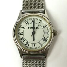 Fossil Women's Analog Watch Roman Numeral Dial Chain Mail Band EC-8783