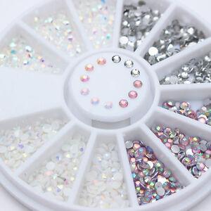 Acrylic 3D Nail Art Studs Flatback Rhinestones Jelly Resin Gems Decorations Tips