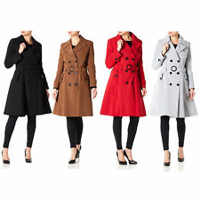 Ladies Mac Trench Coat Womens Double Breasted Jacket Belt Spring Summer Fashion