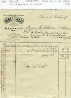 Dépt 51/75 - Reims & Londres - Petite Entête Champagne De Launay du 06/12/1877