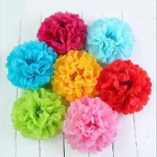 15 tessuto-carta e Pompon Fiore Palle Festa Matrimonio Decorazione misti dimensioni / colori