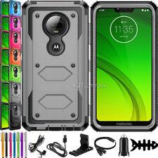 For Motorola Moto G7 Supra/G7 Power Case Hybrid Rugged Armor Cover w/Accessories