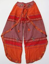 Bohemian BOHO Nepal Women's Orange Ethnic Striped Butterfly Elastic Pants NEW
