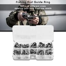 80Pcs Lot Stainless Steel Sea Fishing Rod Guide Rings Eyes Tackle Accessories BD