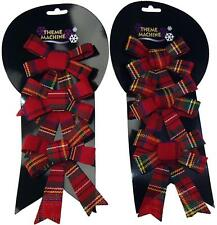 Set Of 6 Red Tartan Christmas Parcel Or Tree Bow Decorations - With Ties