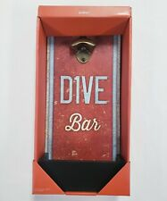 "Dive Bar Wall Mounted Bottle Opener w/ Cap Collector Red Gray Black 7.5"" x 15"""