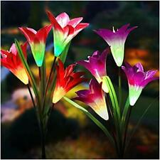 Solar 2 Pack Lights Outdoor Upgraded Solar Garden Lights Multi Color Changing