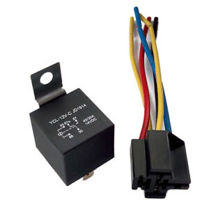 1X DC 12V Car SPDT Automotive Relay 5 Pin 5 Wires Harness Socket 30/40 Amp  Wq