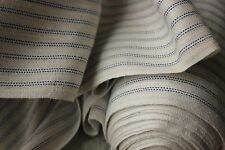 LINEN cotton mix FABRIC blue striped French c1920's upholstery weight per 1 YARD