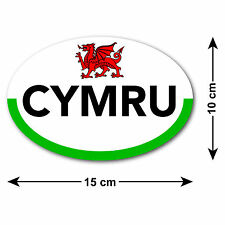 Cymru Car Sticker with Flag & Dragon of Wales - For Welsh Cars Travelling Abroad