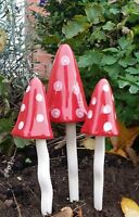 Christmas Toadstools For The Garden Tinkling  Mushrooms Garden Ornaments DS5081
