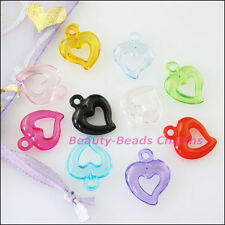 50Pcs Mixed Plastic Acrylic Lovely Heart Circle Charms Pendants 15x19mm