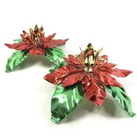 Dept 56 Poinsettia Taper Candle Holders Christmas HOliday Decorations