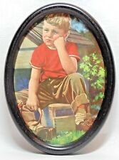Vtg LOST MY DOG Crying Boy With Open Dog Collar Print in BLACK METAL OVAL FRAME