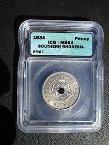 1934 Southern Rhodesia 1 Penny, ICG MS 64, Zimbabwe