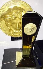 "VERSACE MEDUSA GOLD CANDLE HOLDER ROSENTHAL 9.5""/ 24cm VANITY NEW $500 SALE"