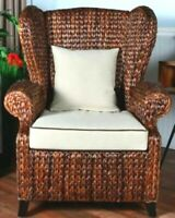Seagrass Chair w/ Rattan - Wicker Wingback Arm Chair - Antique Vintage Styling