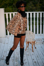 New Classy Designer Giuliana Teso byte Spotted goat fur coat Jacket cape XS 0-2