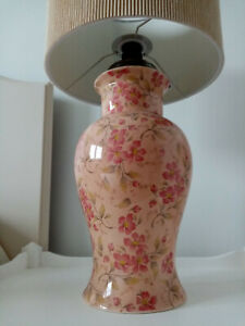 PAIR CERAMIC LAMP BASES REWIRED, PINK FLORAL 33CM HIGH TO BOTTOM BULB HOLDER