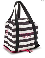 New Victoria's Secret Packable Weekender Getaway Bag Tote Black/White Stripe