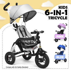 Kids Tricycle Folding Ride On Trike Toy  6 IN 1Toddler Learning Bike Push Car