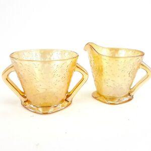 Jeannette Glass Creamer Sugar Bowl Set Floragold Orange Louisa Carnival Glass