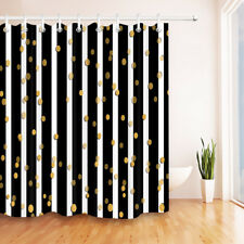"""Black and White Stripes Gold Dot Design Waterproof Fabric Shower Curtain 72x72"""""""