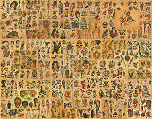 """Sailor Jerry Traditional Vintage Style Tattoo Flash 50 Sheets 11x14"""" Old School"""