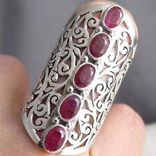 PENTA-GEM Size US 8.25 SilverSari Jali Ring Solid 925 Stg Silver + INDIAN RUBY