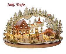 """LED Schwibbogen Oval inkl. Trafo """"Weihnachtsmarkt"""" Leuchter Schwippbogen"""