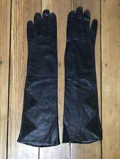 Nos Vintage Long, BlackLeather Opera Gloves, Made in France, Size 7,14�